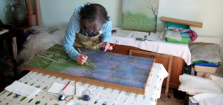 margaret wilmot - hue and dye - painting on silk